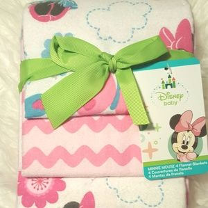 New Disney 4pk Flannel Minnie Mouse Baby Blankets